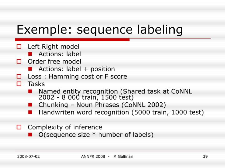Exemple: sequence labeling