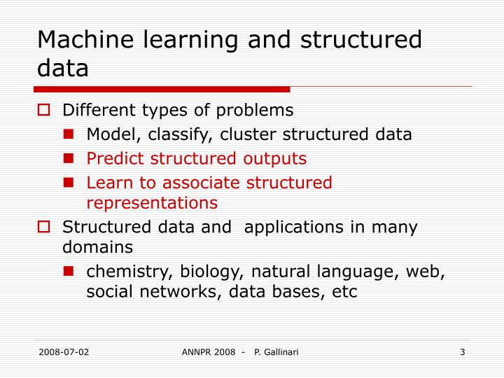 Machine learning and structured data