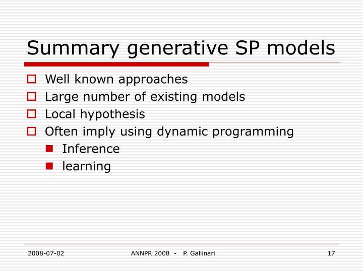 Summary generative SP models