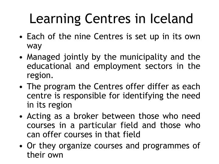Learning centres in iceland