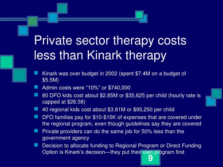 Private sector therapy costs less than Kinark therapy