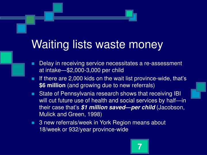 Waiting lists waste money