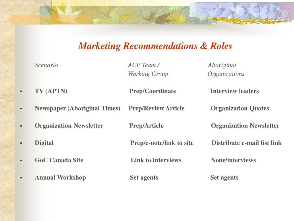 Marketing Recommendations & Roles