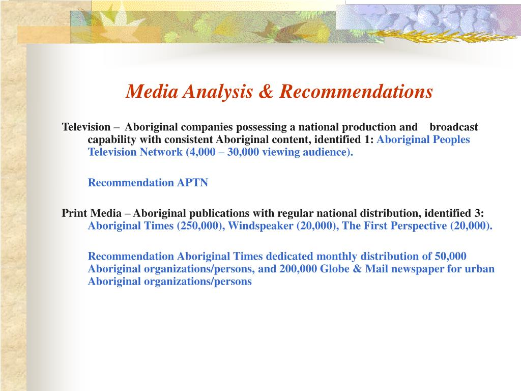 Media Analysis & Recommendations