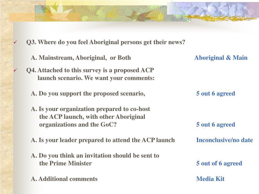 Q3. Where do you feel Aboriginal persons get their news?