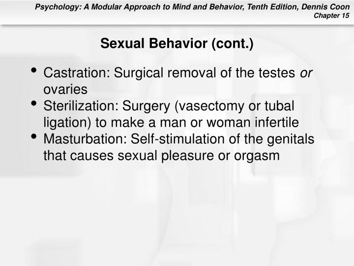 Sexual Behavior (cont.)