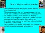 what is a typical contents page like