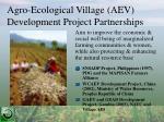 agro ecological village aev development project partnerships