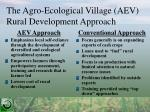 the agro ecological village aev rural development approach