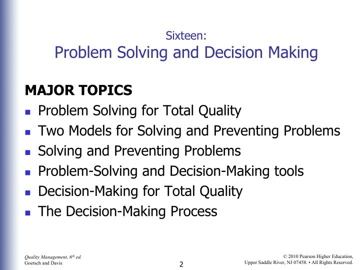 Sixteen problem solving and decision making