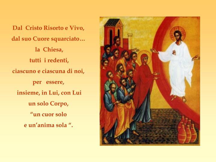 Dal  Cristo Risorto e Vivo,
