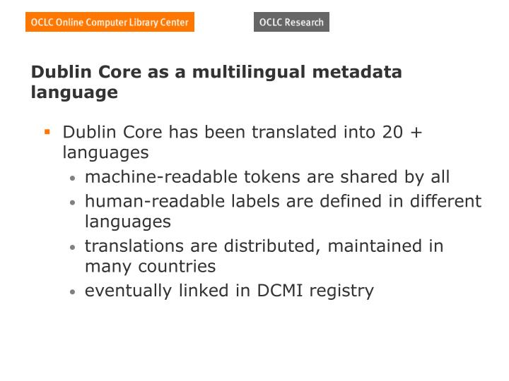 Dublin Core as a multilingual metadata language