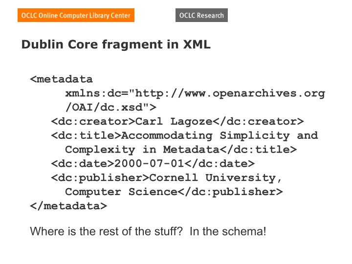 Dublin Core fragment in XML