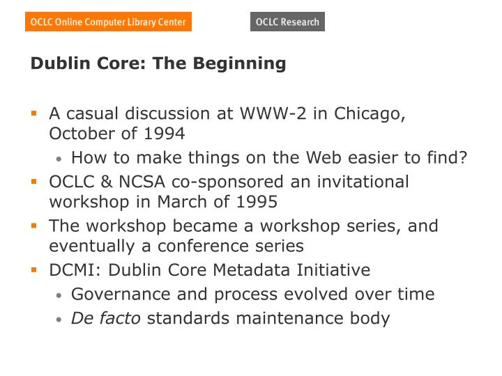 Dublin Core: The Beginning