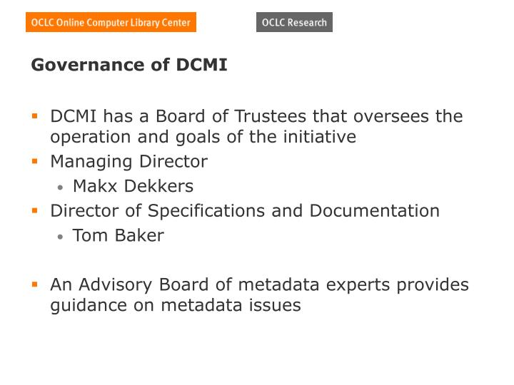 Governance of DCMI
