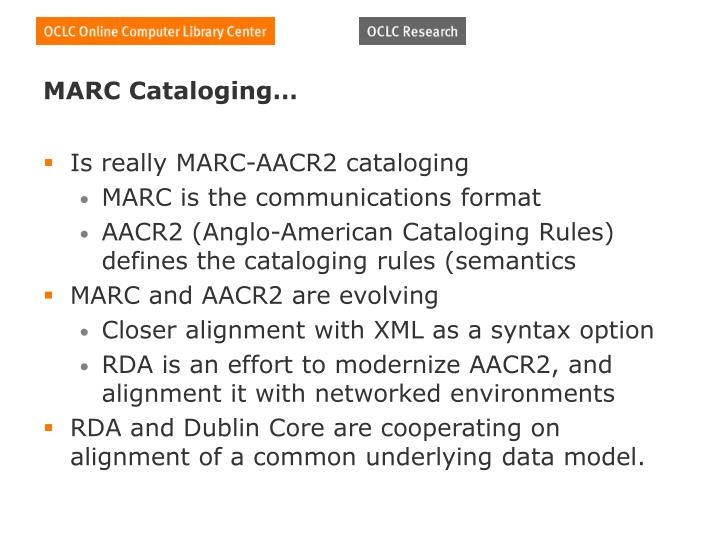 MARC Cataloging…