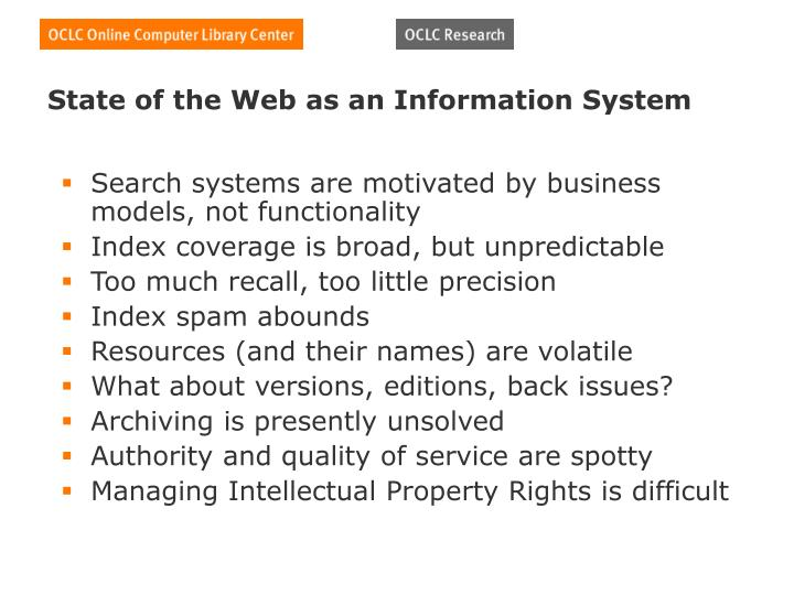 State of the Web as an Information System