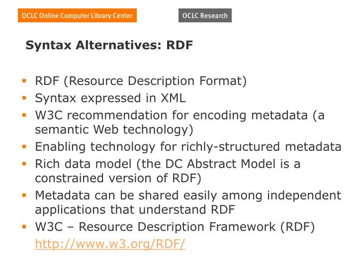 Syntax Alternatives: RDF