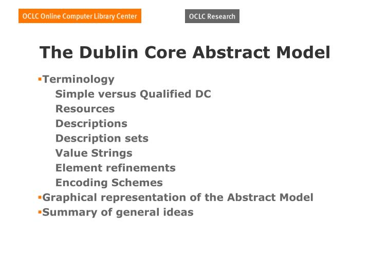 The Dublin Core Abstract Model