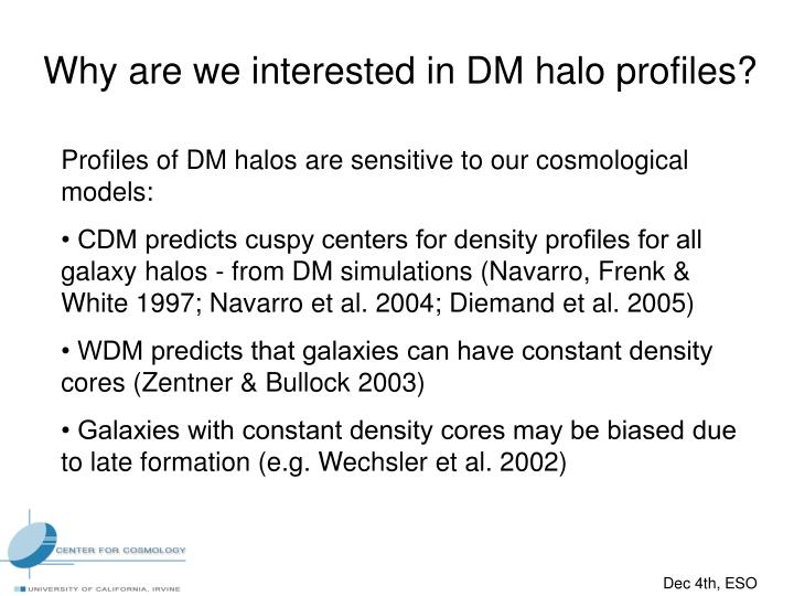 Why are we interested in DM halo profiles?