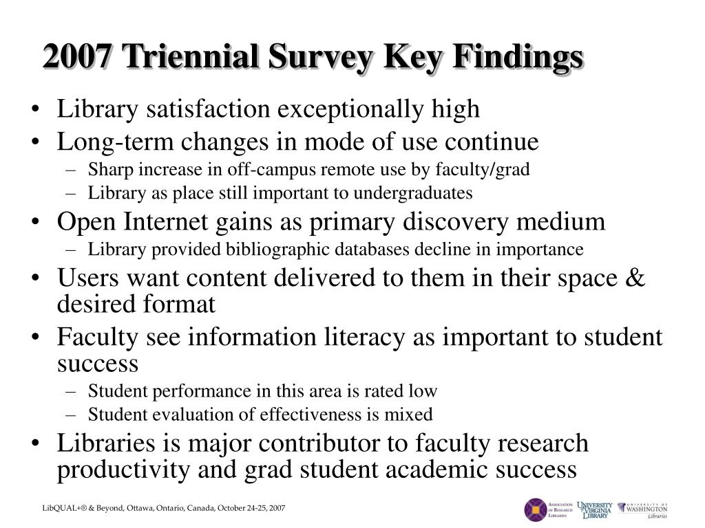 2007 Triennial Survey Key Findings