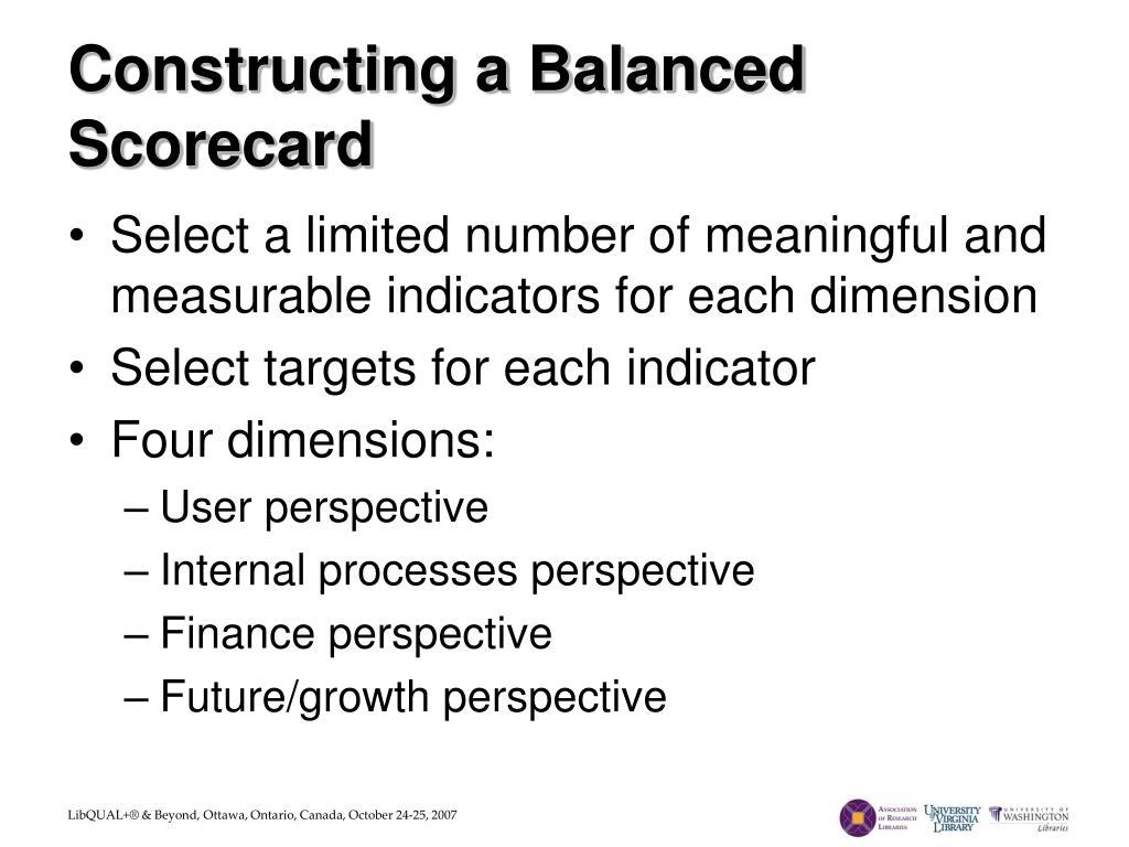 Constructing a Balanced Scorecard