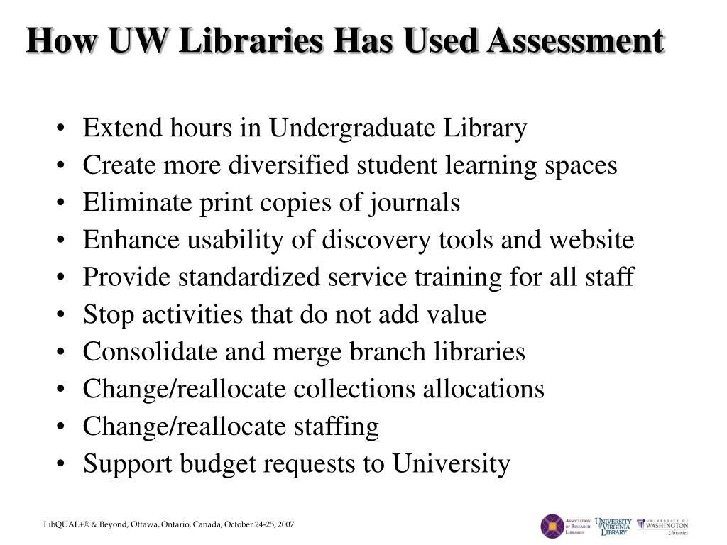 How UW Libraries Has Used Assessment