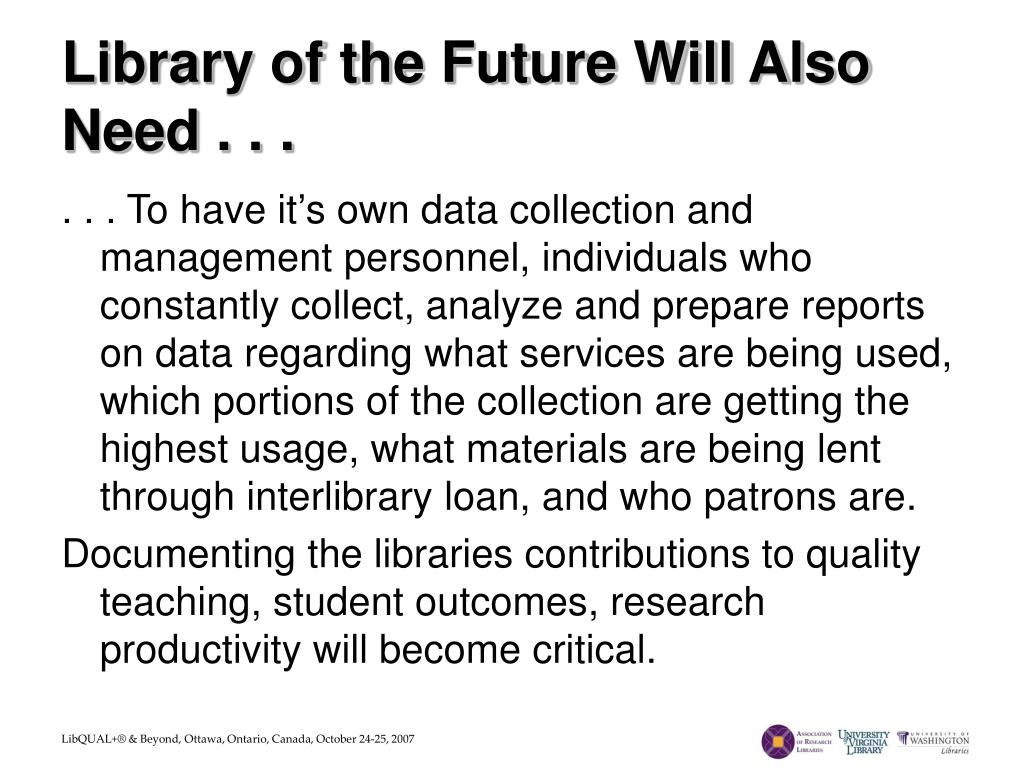 Library of the Future Will Also Need . . .