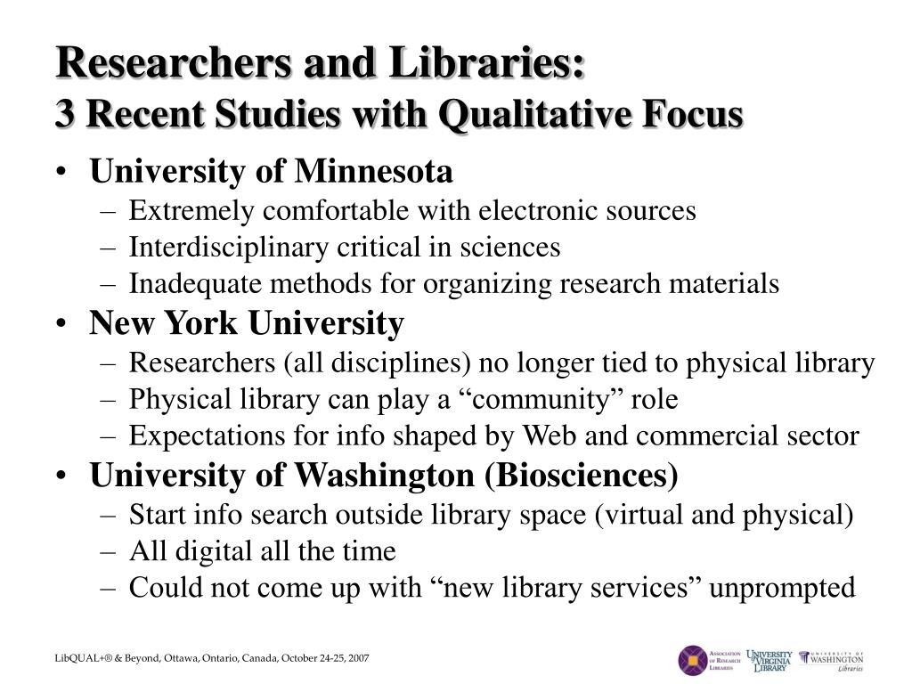 Researchers and Libraries: