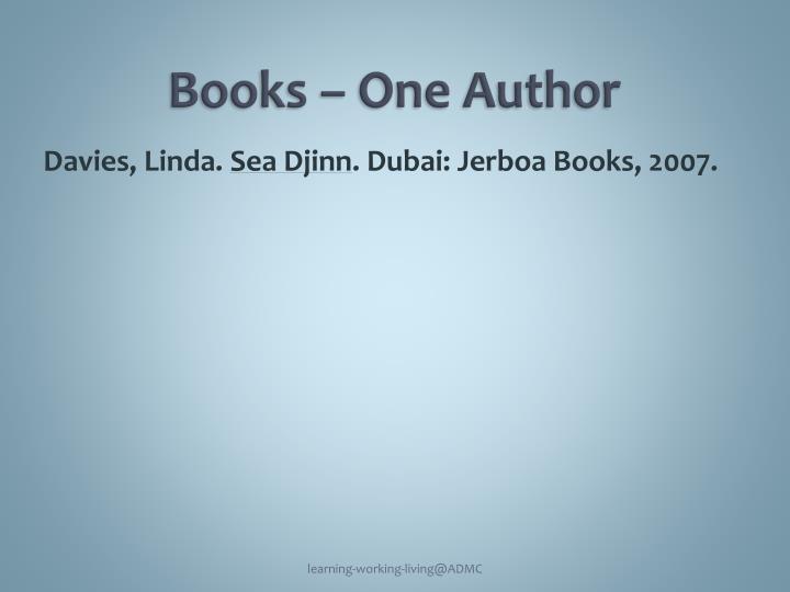 Books – One Author