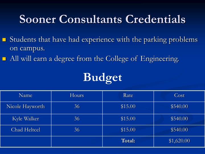 Sooner Consultants Credentials