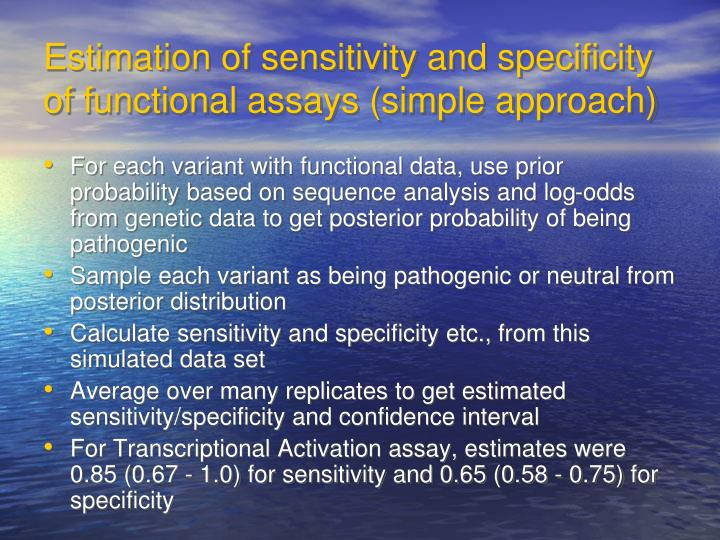 Estimation of sensitivity and specificity of functional assays (simple approach)