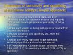 estimation of sensitivity and specificity of functional assays simple approach