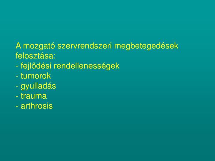 A mozgató szervrendszeri megbetegedések felosztása: