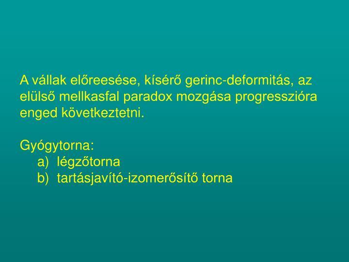 A vállak előreesése, kísérő gerinc-deformitás, az elülső mellkasfal paradox mozgása progresszióra enged következtetni.