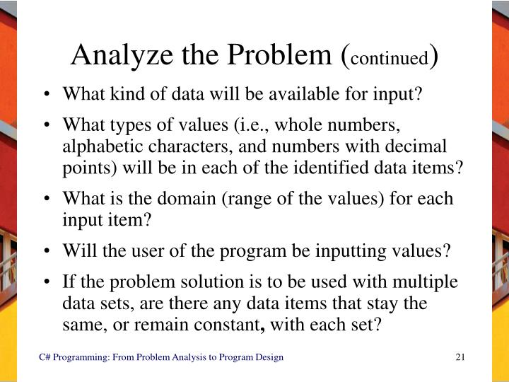 Analyze the Problem (