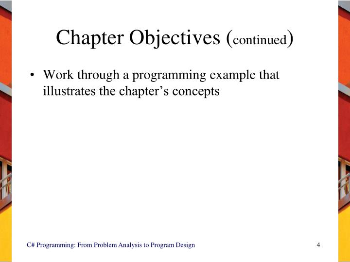 Chapter Objectives (