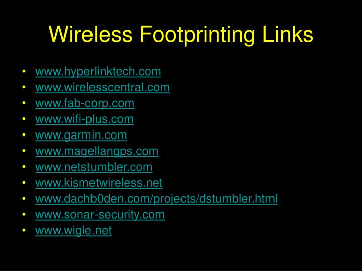 Wireless Footprinting Links