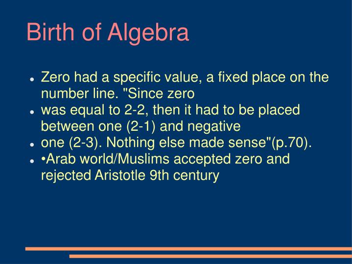 Birth of Algebra