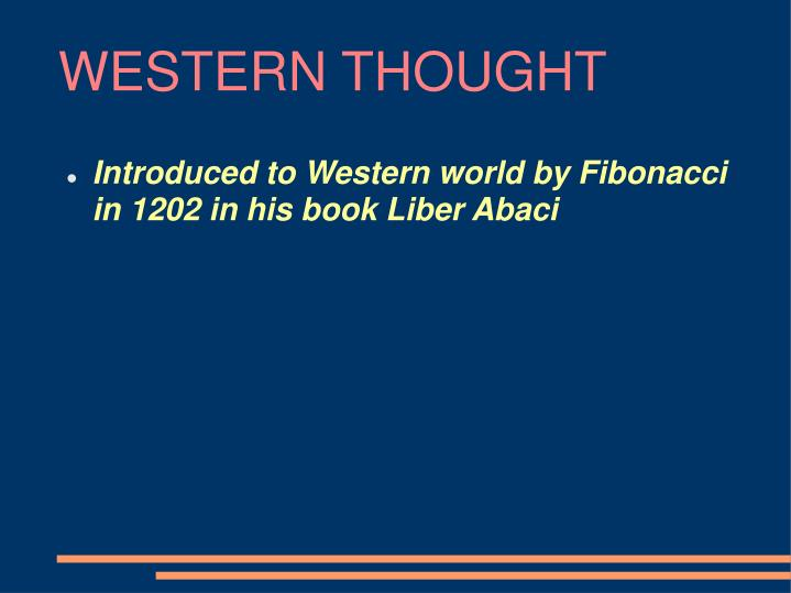 WESTERN THOUGHT