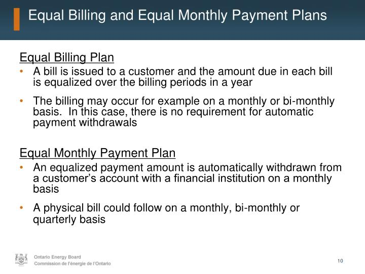 Equal Billing and Equal Monthly Payment Plans