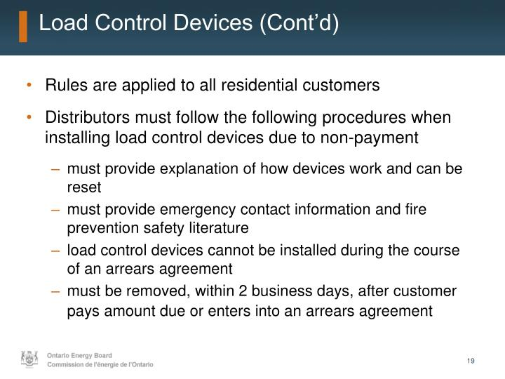 Load Control Devices (Cont'd)
