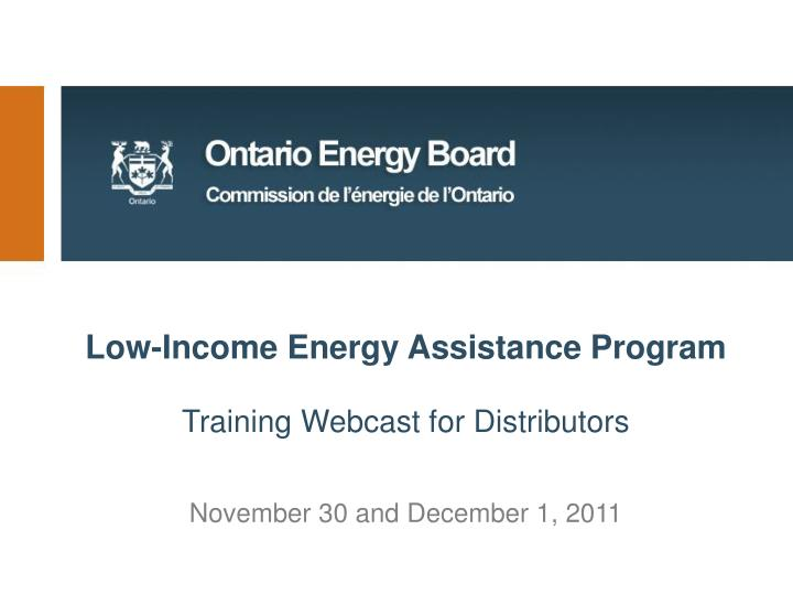 Low-Income Energy Assistance Program