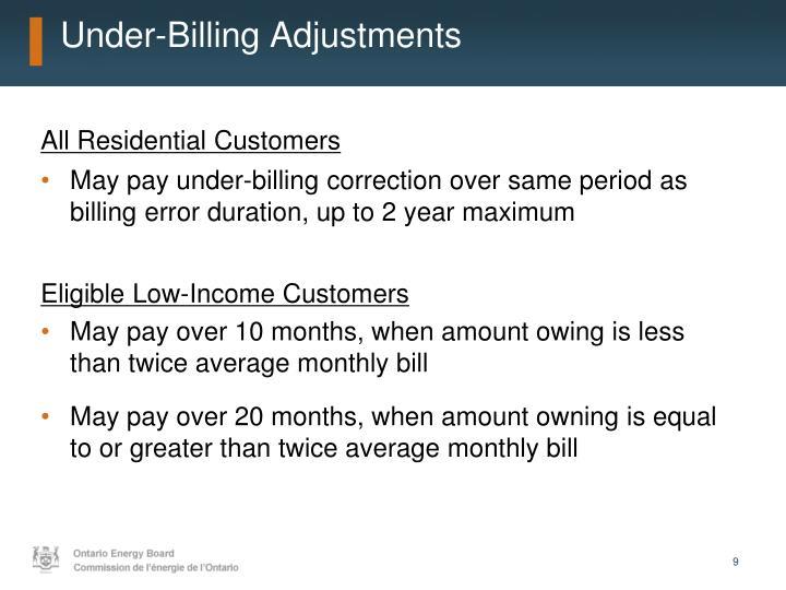 Under-Billing Adjustments
