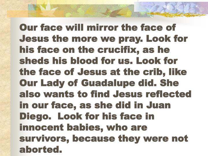 Our face will mirror the face of Jesus the more we pray. Look for his face on the crucifix, as he sheds his blood for us. Look for the face of Jesus at the crib, like Our Lady of Guadalupe did. She also wants to find Jesus reflected in our face, as she did in Juan Diego.  Look for his face in innocent babies, who are survivors, because they were not aborted.