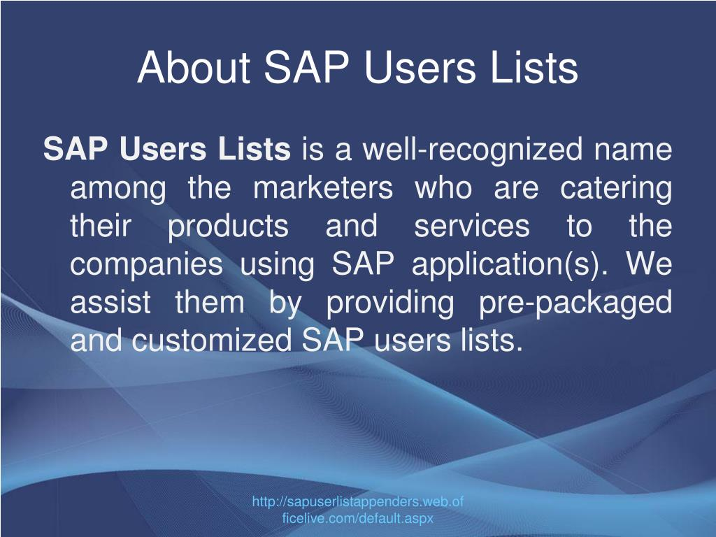 About SAP Users Lists