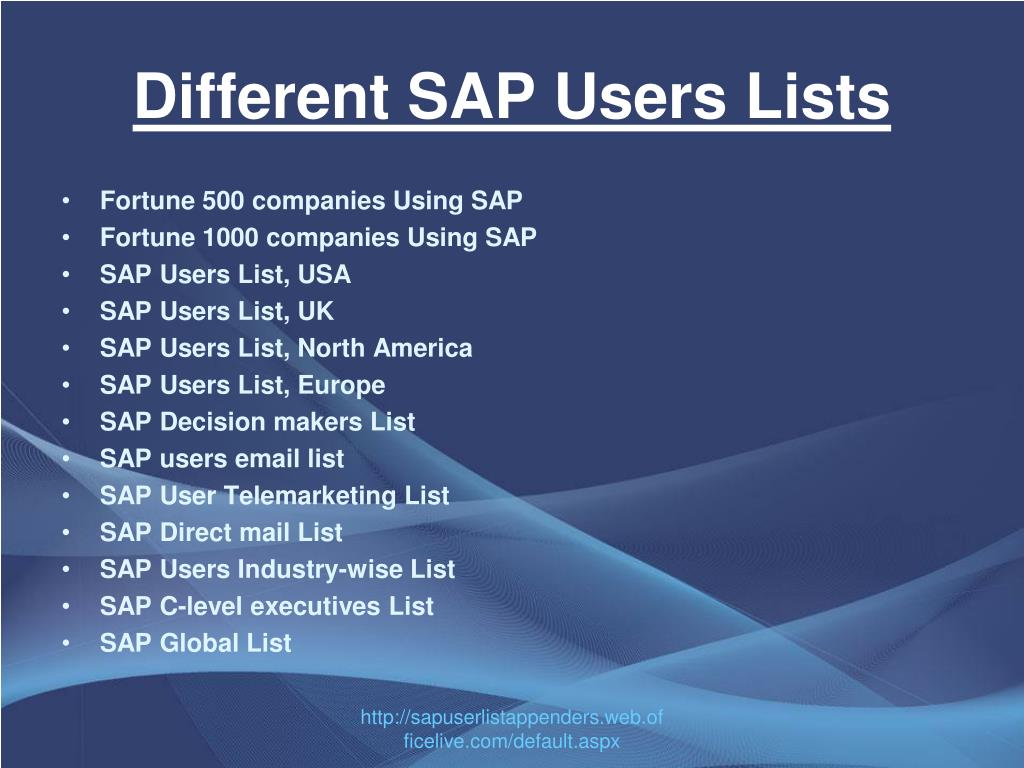 Different SAP Users Lists