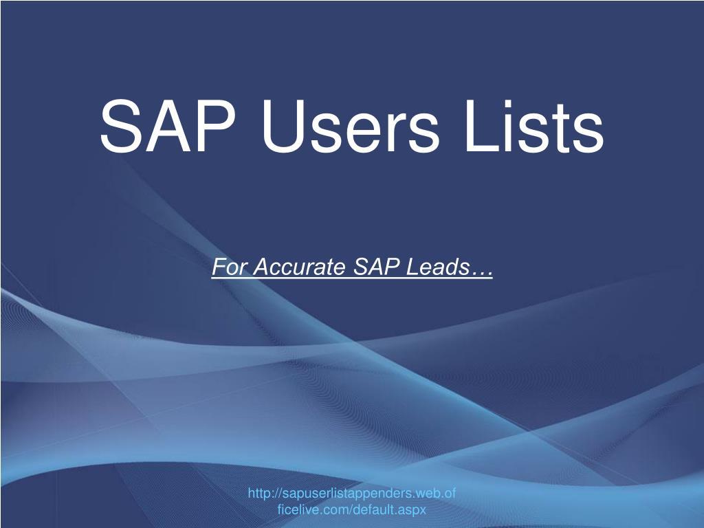 SAP Users Lists