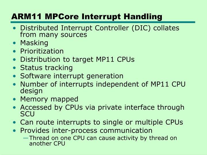 ARM11 MPCore Interrupt Handling