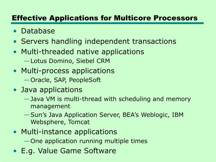 Effective Applications for Multicore Processors